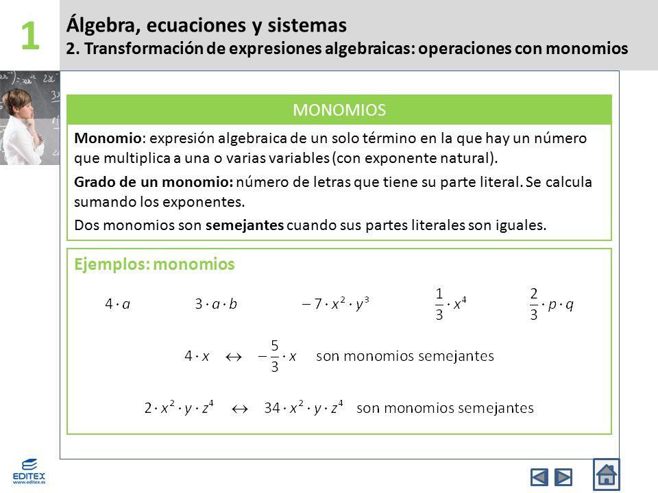 Álgebra, ecuaciones y sistemas 4.Identidades notables.