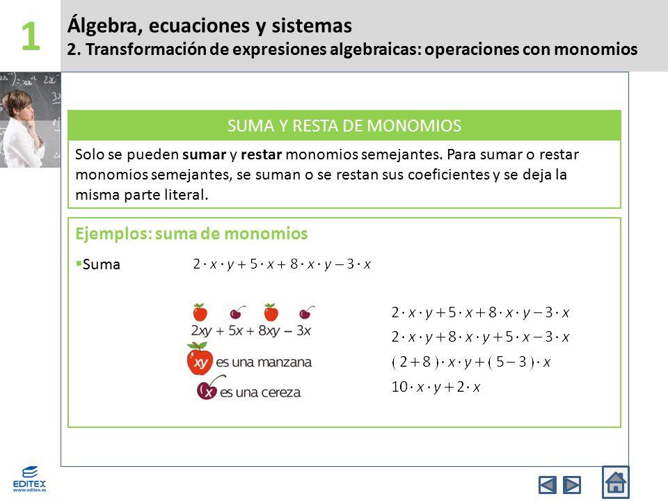 Álgebra, ecuaciones y sistemas 2.
