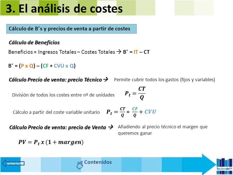 3. El análisis de costes Cálculo de B˚s y precios de venta a partir de costes Contenidos anterior Beneficios = Ingresos Totales – Costes Totales  B˚