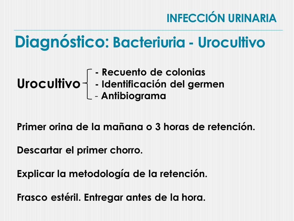 INFECCIÓN URINARIA Diagnóstico: Síntomas (no específicos) Vía urinaria inferior - Dusuria - Frecuencia miccional - Urgencia - Tenesmo vesical - Dolor suprapúbico - Incontinencia Vía urinaria superior - Fiebre - Dolor lumbar - Alteración del estado general - disuria, urgencia, frecuencia, tenesmo - Trastornos cognitivos