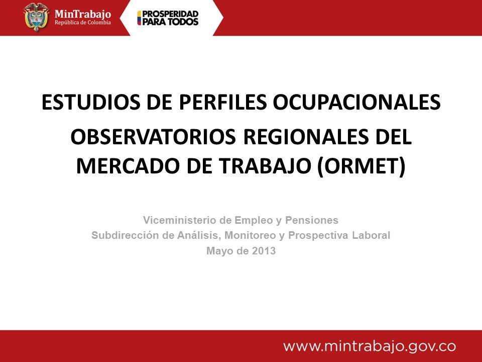 ESTUDIOS DE PERFILES OCUPACIONALES OBSERVATORIOS REGIONALES DEL MERCADO DE TRABAJO (ORMET) Viceministerio de Empleo y Pensiones Subdirección de Análisis, Monitoreo y Prospectiva Laboral Mayo de 2013