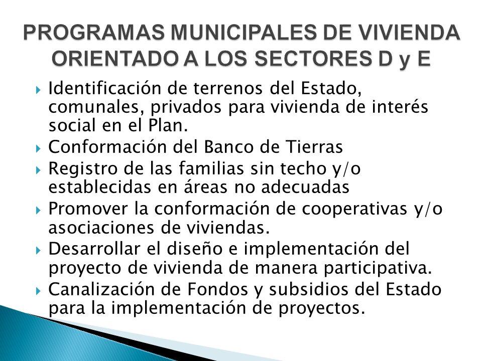  Identificación de terrenos del Estado, comunales, privados para vivienda de interés social en el Plan.