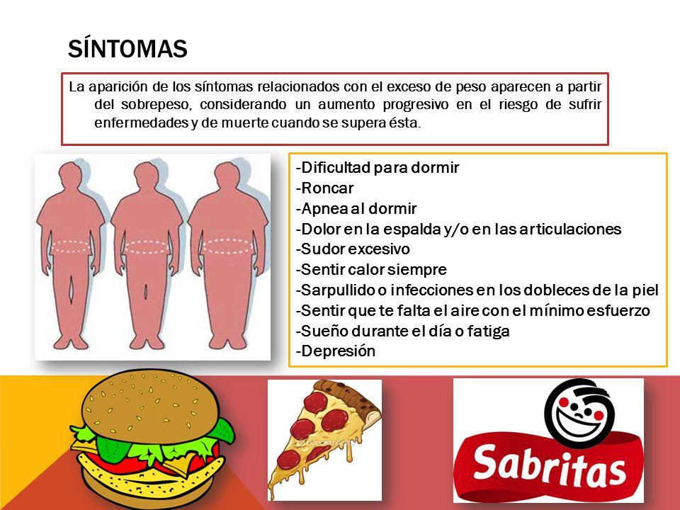 SÍNTOMAS La aparición de los síntomas relacionados con el exceso de peso aparecen a partir del sobrepeso, considerando un aumento progresivo en el riesgo de sufrir enfermedades y de muerte cuando se supera ésta.