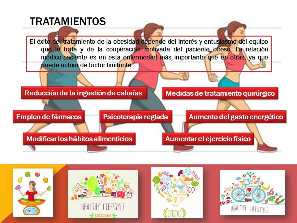 TRATAMIENTOS El éxito del tratamiento de la obesidad depende del interés y entusiasmo del equipo que lo trata y de la cooperación motivada del paciente obeso.