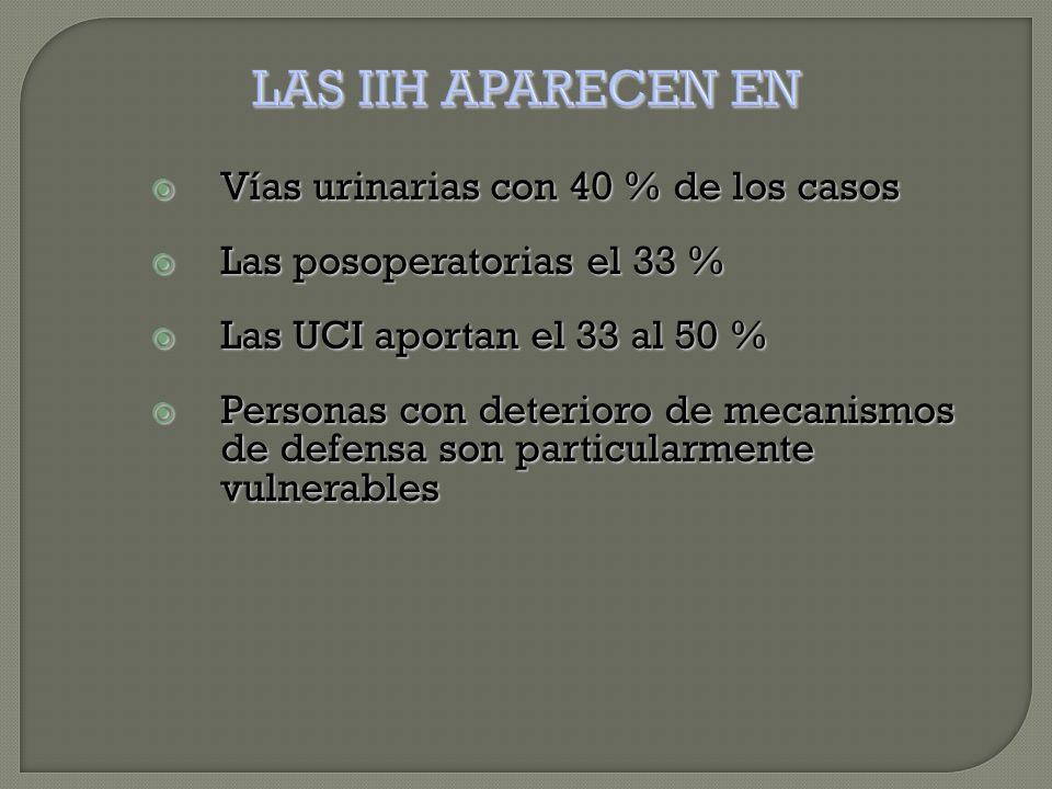  Vías urinarias con 40 % de los casos  Las posoperatorias el 33 %  Las UCI aportan el 33 al 50 %  Personas con deterioro de mecanismos de defensa son particularmente vulnerables
