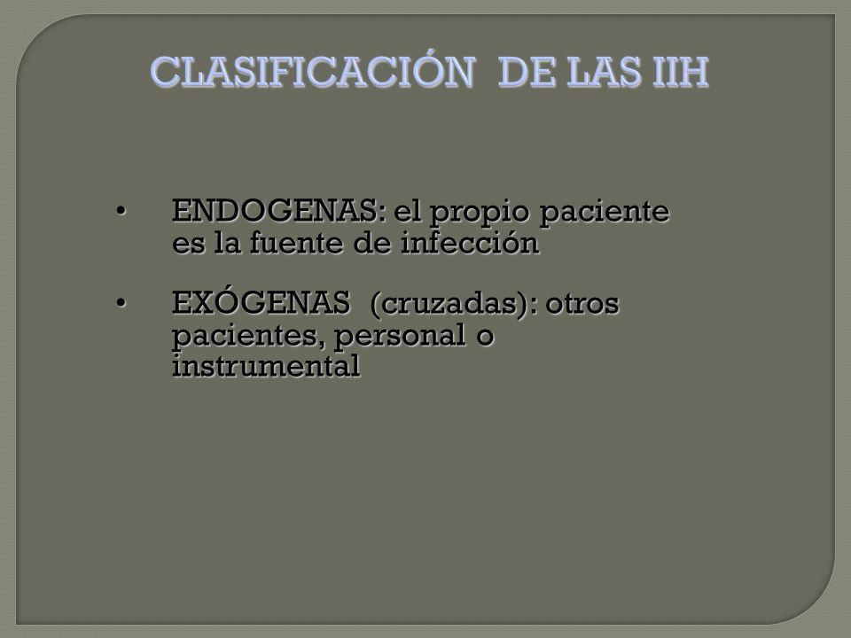 ENDOGENAS: el propio paciente es la fuente de infecciónENDOGENAS: el propio paciente es la fuente de infección EXÓGENAS (cruzadas): otros pacientes, personal o instrumentalEXÓGENAS (cruzadas): otros pacientes, personal o instrumental