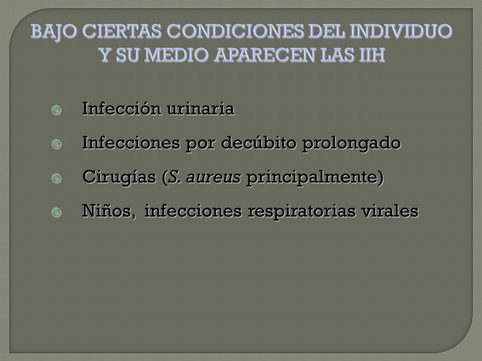  Infección urinaria  Infecciones por decúbito prolongado  Cirugías (S.