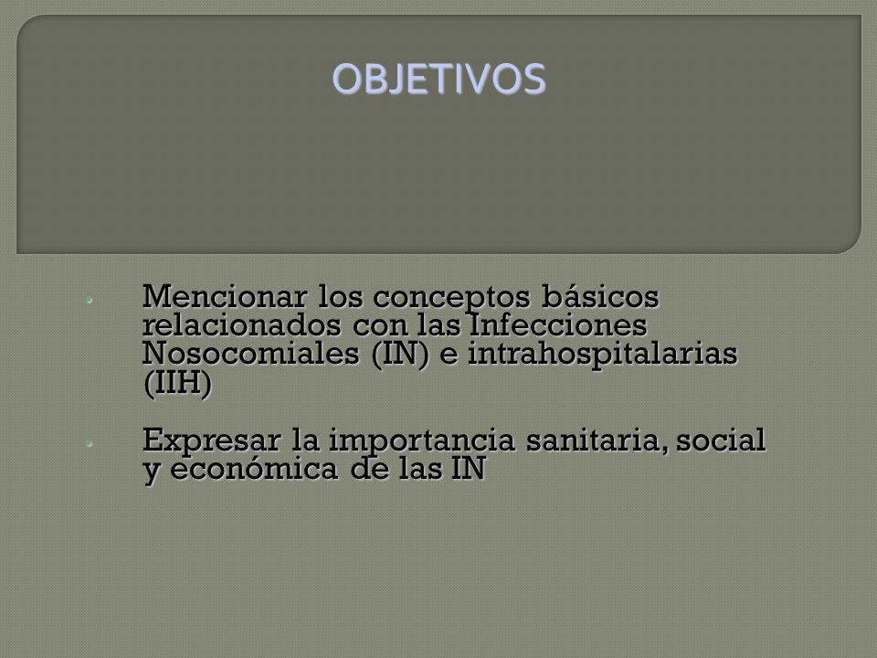 Mencionar los conceptos básicos relacionados con las Infecciones Nosocomiales (IN) e intrahospitalarias (IIH) Mencionar los conceptos básicos relacionados con las Infecciones Nosocomiales (IN) e intrahospitalarias (IIH) Expresar la importancia sanitaria, social y económica de las IN Expresar la importancia sanitaria, social y económica de las IN OBJETIVOS