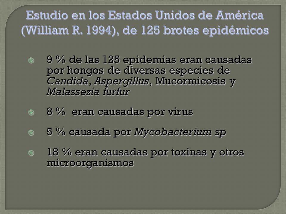 9 % de las 125 epidemias eran causadas por hongos de diversas especies de Candida, Aspergillus, Mucormicosis y Malassezia furfur  8 % eran causadas por virus  5 % causada por Mycobacterium sp  18 % eran causadas por toxinas y otros microorganismos