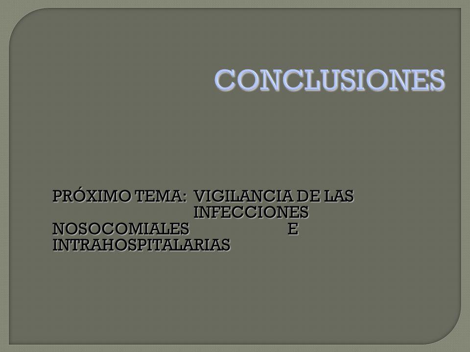 PRÓXIMO TEMA:VIGILANCIA DE LAS INFECCIONES NOSOCOMIALES E INTRAHOSPITALARIAS