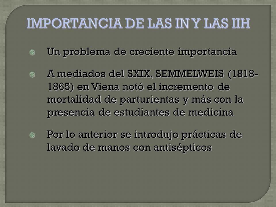  Un problema de creciente importancia  A mediados del SXIX, SEMMELWEIS (1818- 1865) en Viena notó el incremento de mortalidad de parturientas y más con la presencia de estudiantes de medicina  Por lo anterior se introdujo prácticas de lavado de manos con antisépticos