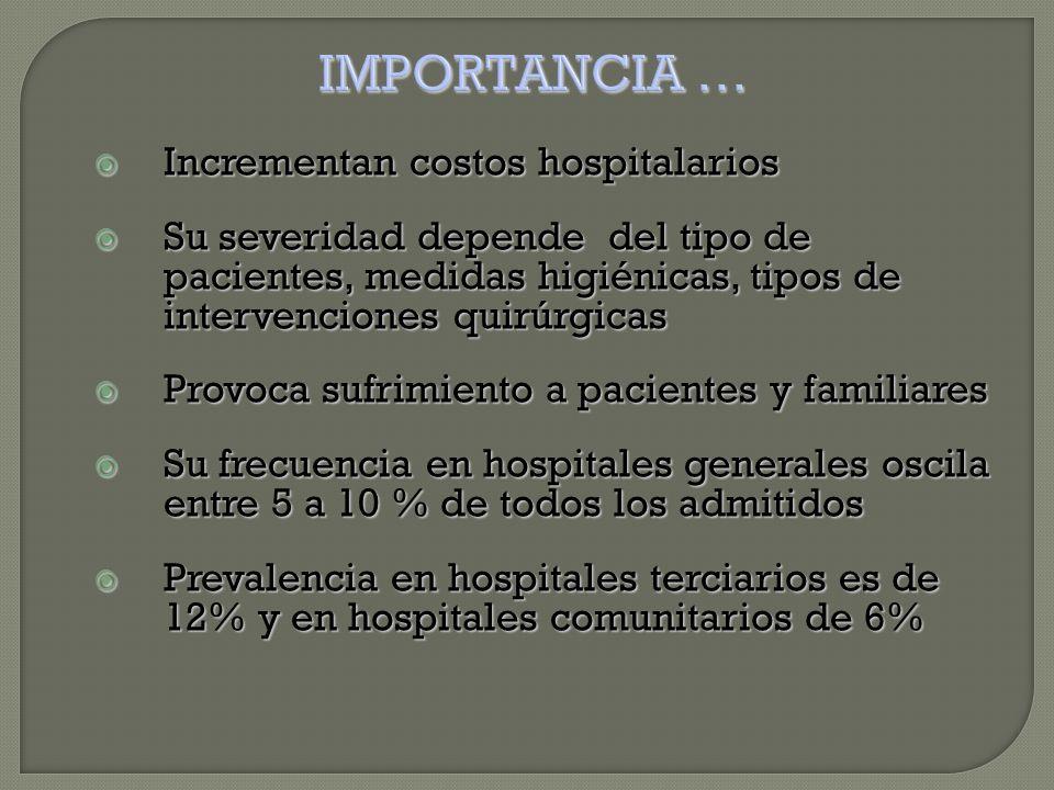  Incrementan costos hospitalarios  Su severidad depende del tipo de pacientes, medidas higiénicas, tipos de intervenciones quirúrgicas  Provoca sufrimiento a pacientes y familiares  Su frecuencia en hospitales generales oscila entre 5 a 10 % de todos los admitidos  Prevalencia en hospitales terciarios es de 12% y en hospitales comunitarios de 6%