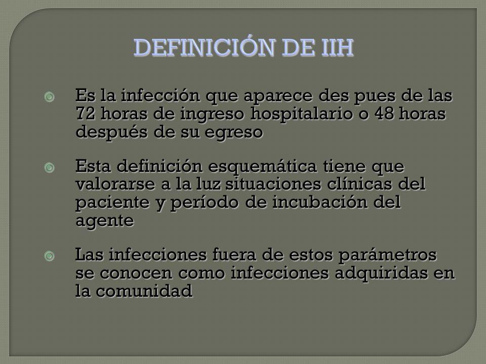  Es la infección que aparece des pues de las 72 horas de ingreso hospitalario o 48 horas después de su egreso  Esta definición esquemática tiene que valorarse a la luz situaciones clínicas del paciente y período de incubación del agente  Las infecciones fuera de estos parámetros se conocen como infecciones adquiridas en la comunidad