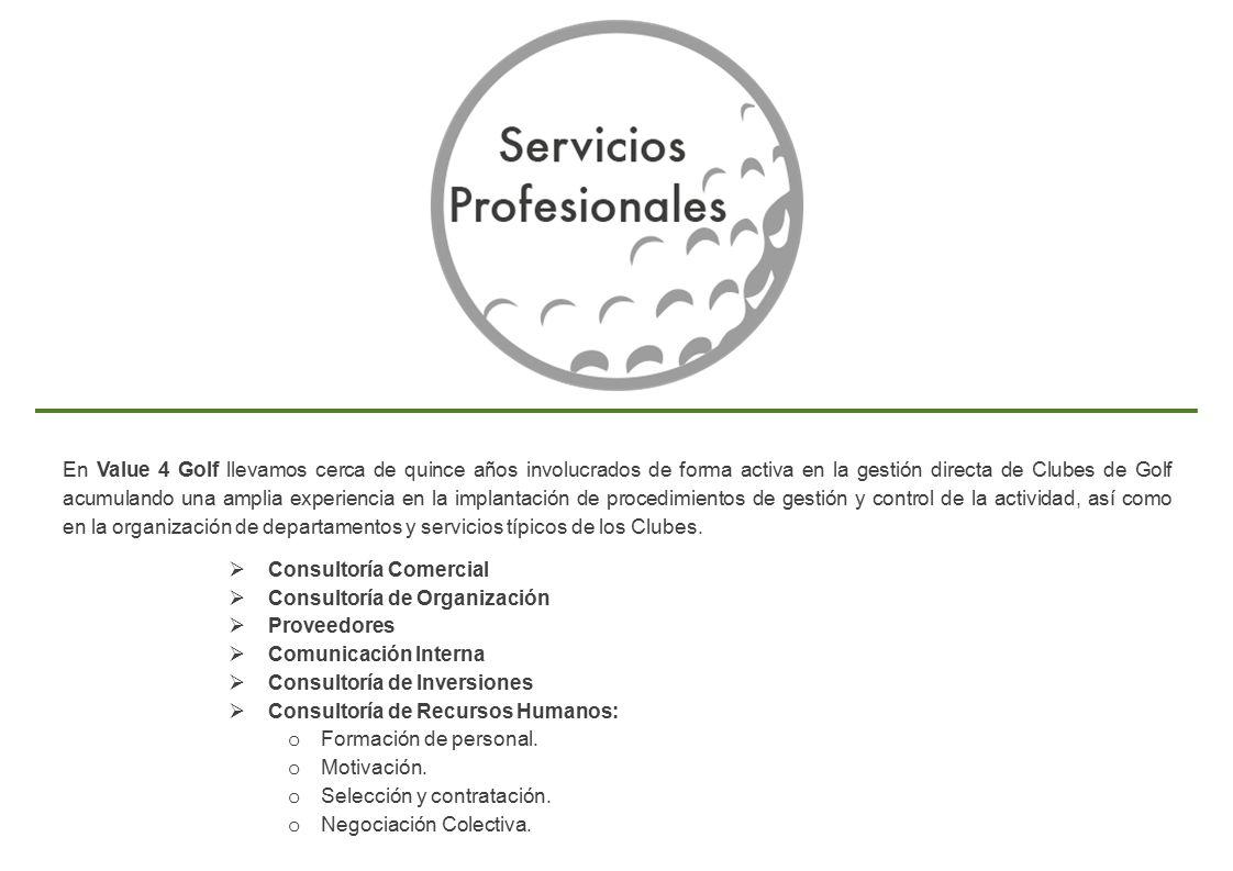 En Value 4 Golf llevamos cerca de quince años involucrados de forma activa en la gestión directa de Clubes de Golf acumulando una amplia experiencia en la implantación de procedimientos de gestión y control de la actividad, así como en la organización de departamentos y servicios típicos de los Clubes.