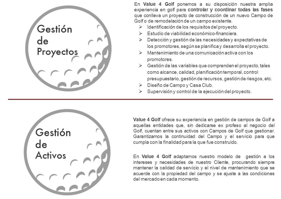En Value 4 Golf ponemos a su disposición nuestra amplia experiencia en golf para controlar y coordinar todas las fases que conlleva un proyecto de construcción de un nuevo Campo de Golf o de remodelación de un campo existente.