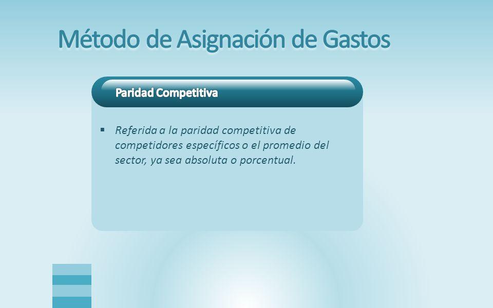  Referida a la paridad competitiva de competidores específicos o el promedio del sector, ya sea absoluta o porcentual.