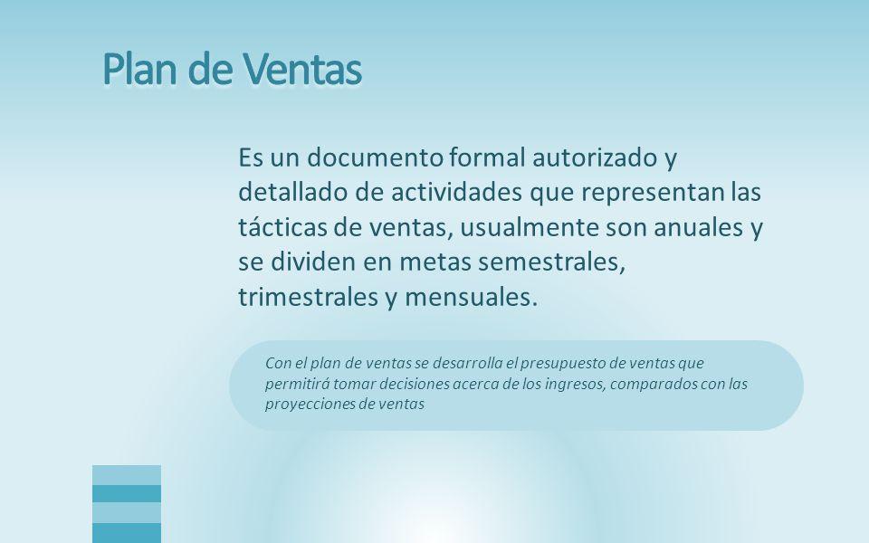 Es un documento formal autorizado y detallado de actividades que representan las tácticas de ventas, usualmente son anuales y se dividen en metas semestrales, trimestrales y mensuales.
