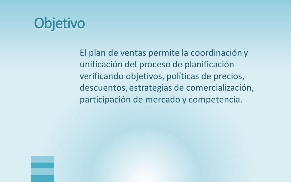 El plan de ventas permite la coordinación y unificación del proceso de planificación verificando objetivos, políticas de precios, descuentos, estrategias de comercialización, participación de mercado y competencia.