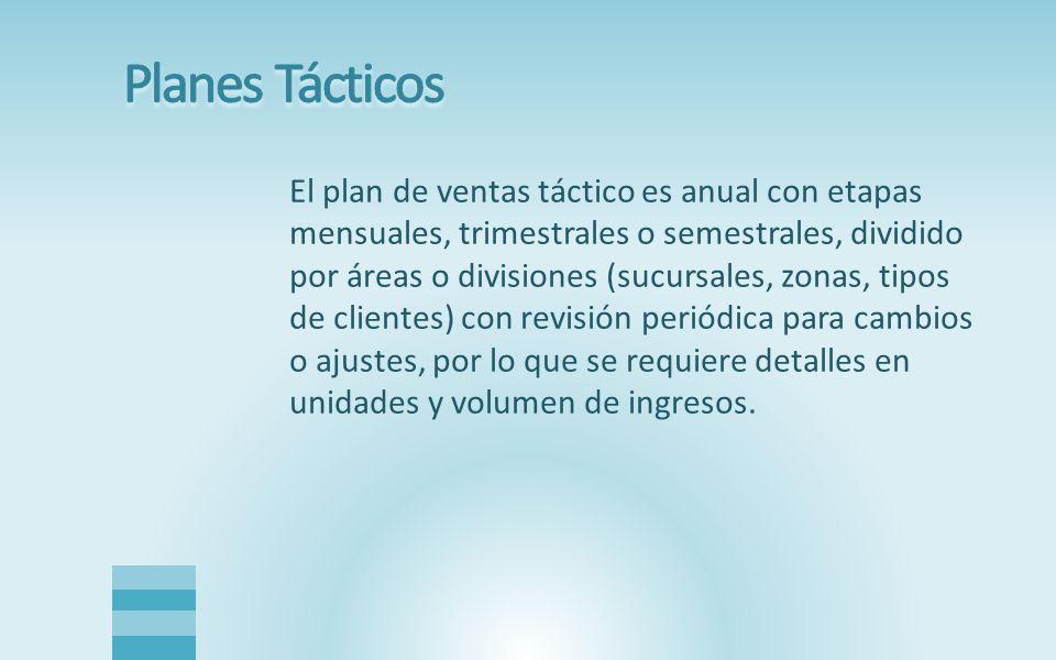 El plan de ventas táctico es anual con etapas mensuales, trimestrales o semestrales, dividido por áreas o divisiones (sucursales, zonas, tipos de clie
