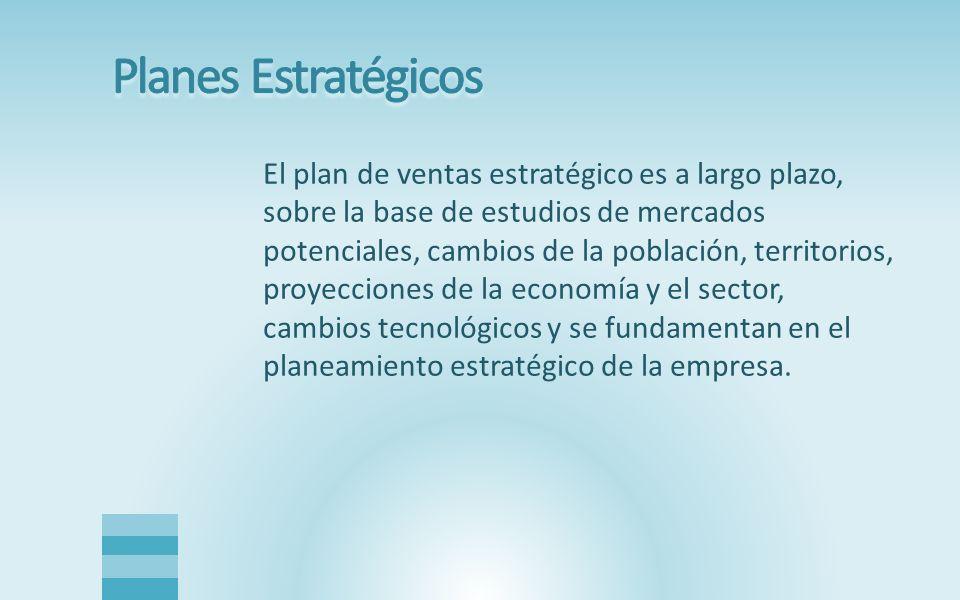 El plan de ventas estratégico es a largo plazo, sobre la base de estudios de mercados potenciales, cambios de la población, territorios, proyecciones de la economía y el sector, cambios tecnológicos y se fundamentan en el planeamiento estratégico de la empresa.