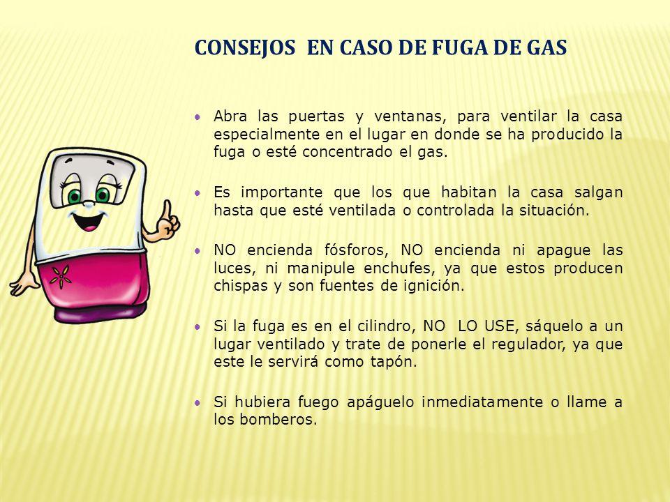 Abra las puertas y ventanas, para ventilar la casa especialmente en el lugar en donde se ha producido la fuga o esté concentrado el gas.
