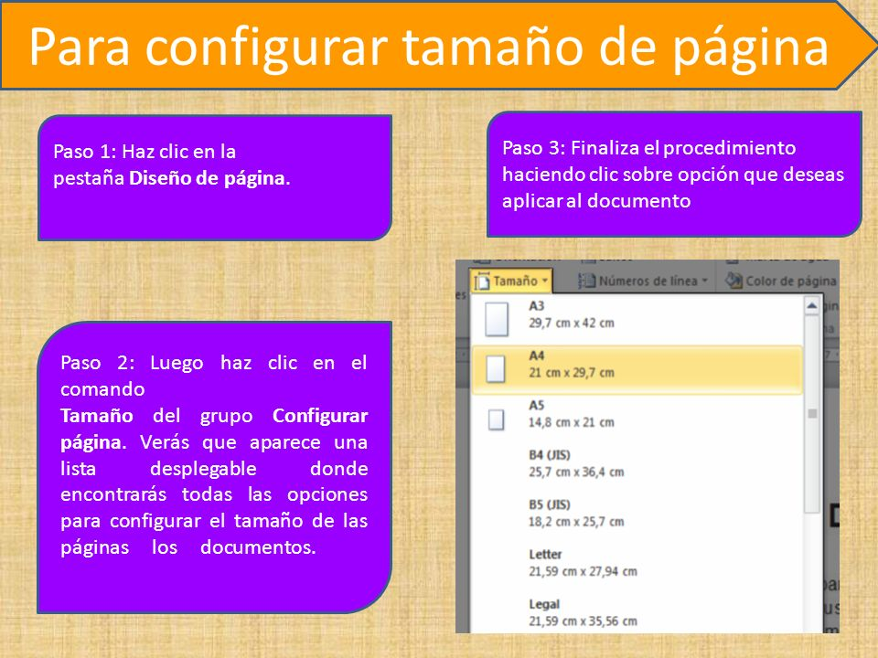 Para configurar tamaño de página Paso 1: Haz clic en la pestaña Diseño de página.