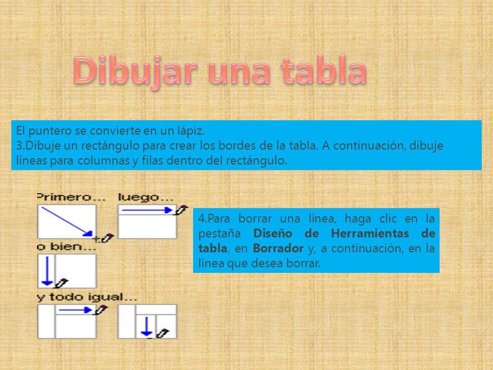 El puntero se convierte en un lápiz. 3.Dibuje un rectángulo para crear los bordes de la tabla.