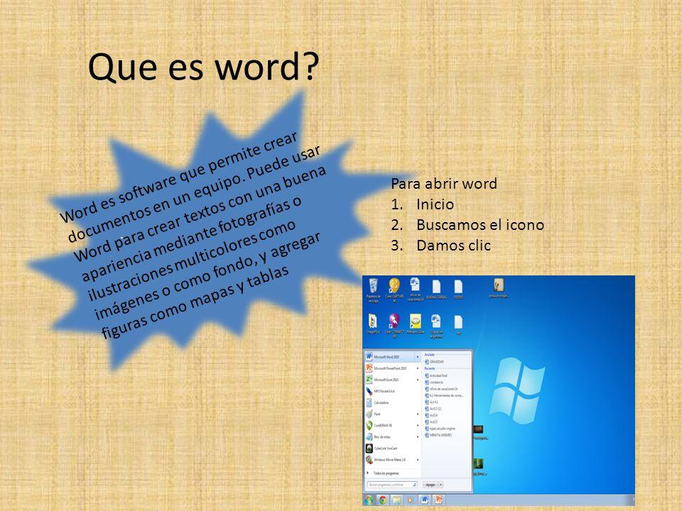 Que es word . Word es software que permite crear documentos en un equipo.