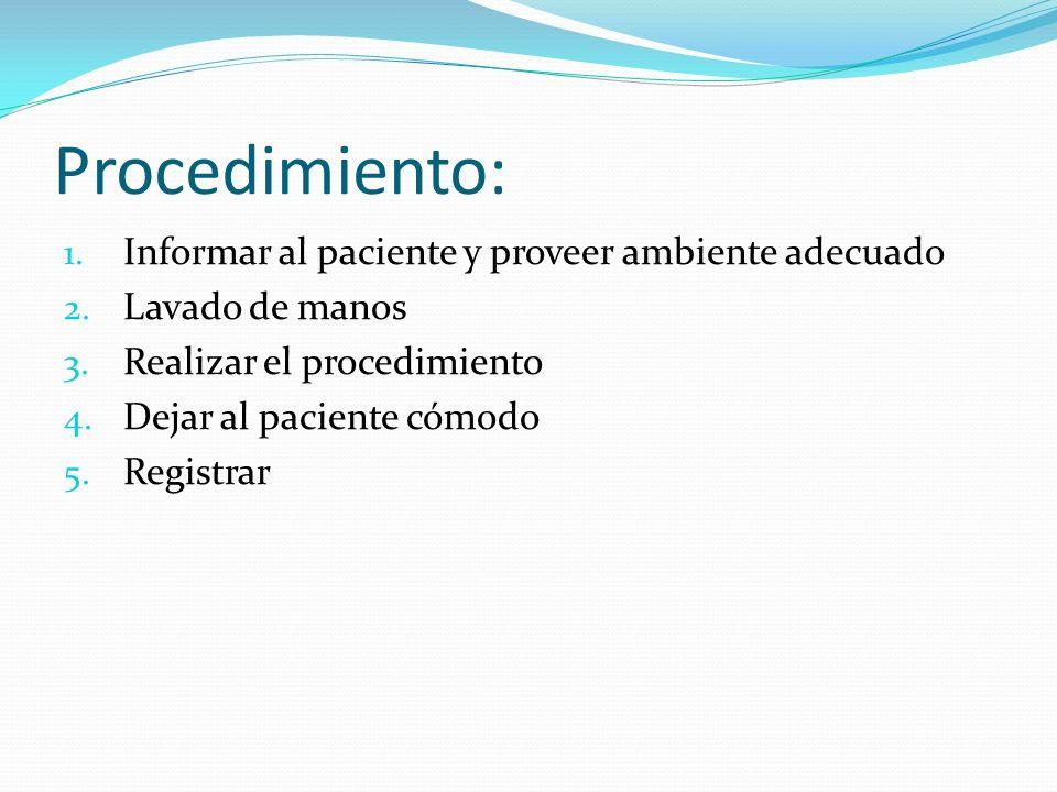 Procedimiento: 1.Informar al paciente y proveer ambiente adecuado 2.