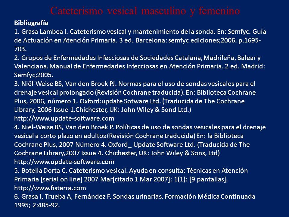 Bibliografía 1. Grasa Lambea I. Cateterismo vesical y mantenimiento de la sonda.