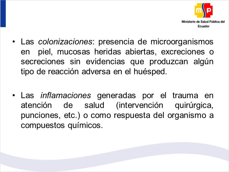 Las colonizaciones: presencia de microorganismos en piel, mucosas heridas abiertas, excreciones o secreciones sin evidencias que produzcan algún tipo de reacción adversa en el huésped.