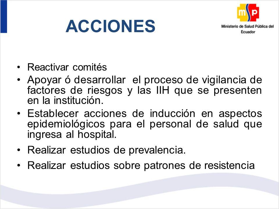 ACCIONES Reactivar comités Apoyar ó desarrollar el proceso de vigilancia de factores de riesgos y las IIH que se presenten en la institución.