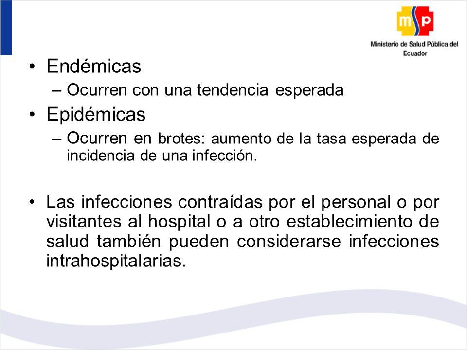 Endémicas –Ocurren con una tendencia esperada Epidémicas –Ocurren en brotes: aumento de la tasa esperada de incidencia de una infección.