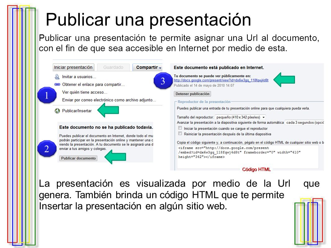 Publicar una presentación Publicar una presentación te permite asignar una Url al documento, con el fin de que sea accesible en Internet por medio de esta.