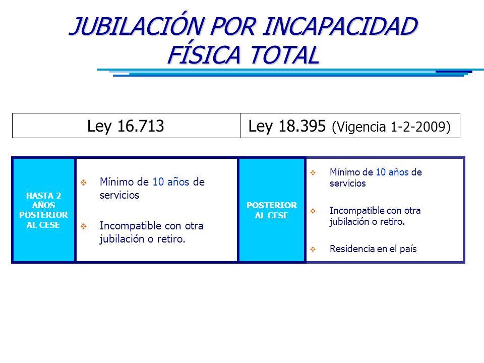 JUBILACIÓN POR INCAPACIDAD FÍSICA TOTAL Ley 16.713Ley 18.395 (Vigencia 1-2-2009)  Mínimo de 10 años de servicios  Incompatible con otra jubilación o retiro.