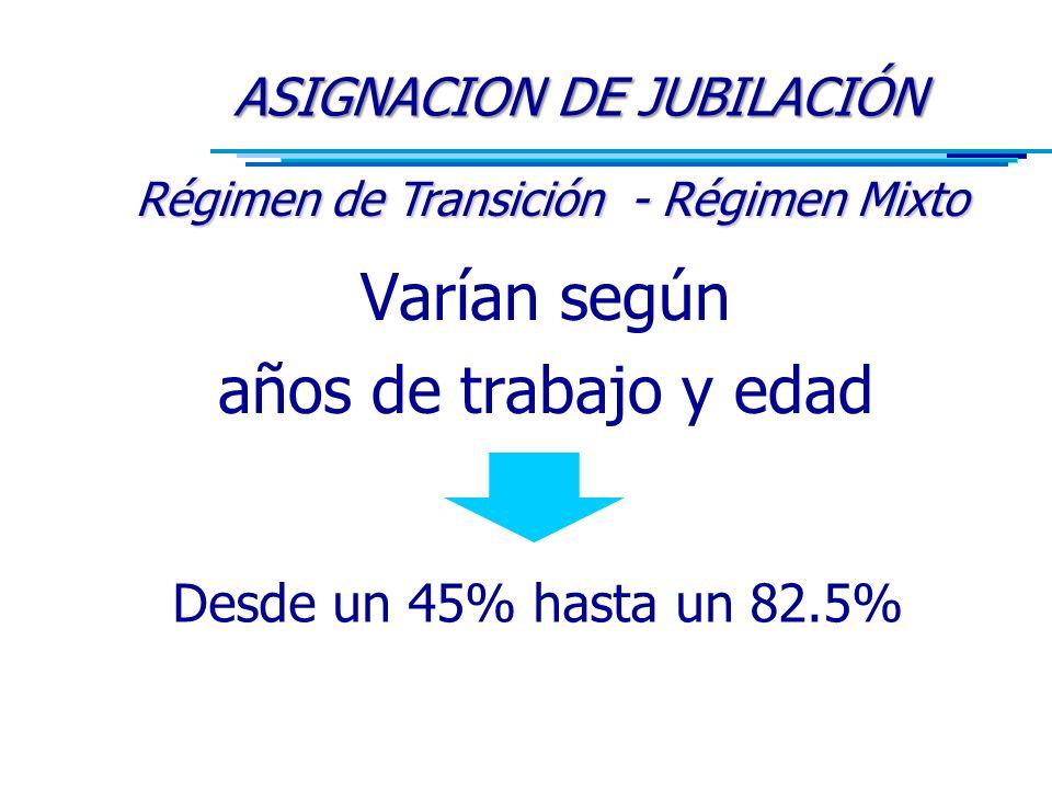 Varían según años de trabajo y edad ASIGNACION DE JUBILACIÓN Régimen de Transición - Régimen Mixto Desde un 45% hasta un 82.5%