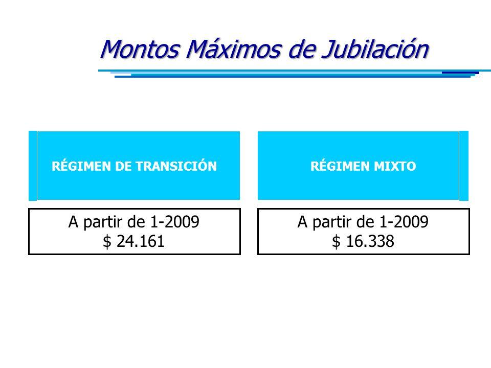 Montos Máximos de Jubilación RÉGIMEN DE TRANSICIÓNRÉGIMEN MIXTO A partir de 1-2009 $ 24.161 A partir de 1-2009 $ 16.338