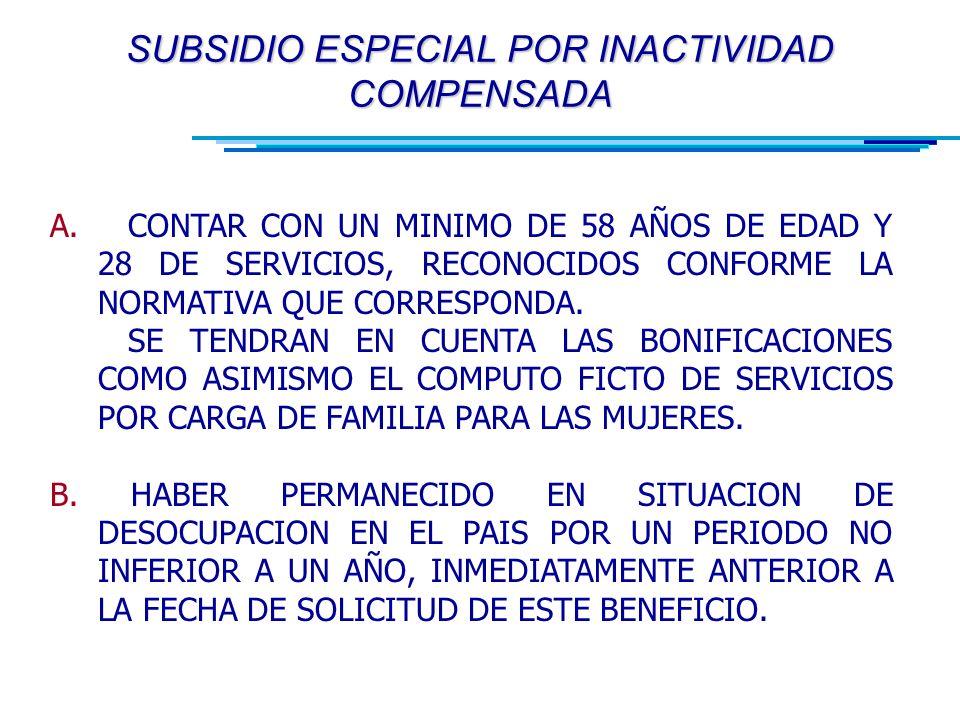 SUBSIDIO ESPECIAL POR INACTIVIDAD COMPENSADA A.
