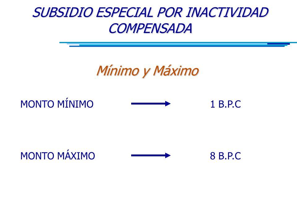 SUBSIDIO ESPECIAL POR INACTIVIDAD COMPENSADA Mínimo y Máximo MONTO MÍNIMO MONTO MÁXIMO 1 B.P.C 8 B.P.C