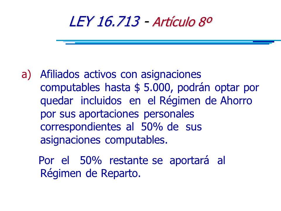 LEY 16.713 - Artículo 8º a)Afiliados activos con asignaciones computables hasta $ 5.000, podrán optar por quedar incluidos en el Régimen de Ahorro por sus aportaciones personales correspondientes al 50% de sus asignaciones computables.