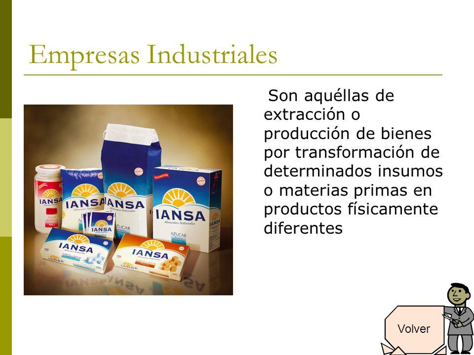 Empresas Industriales Son aquéllas de extracción o producción de bienes por transformación de determinados insumos o materias primas en productos físicamente diferentes Volver