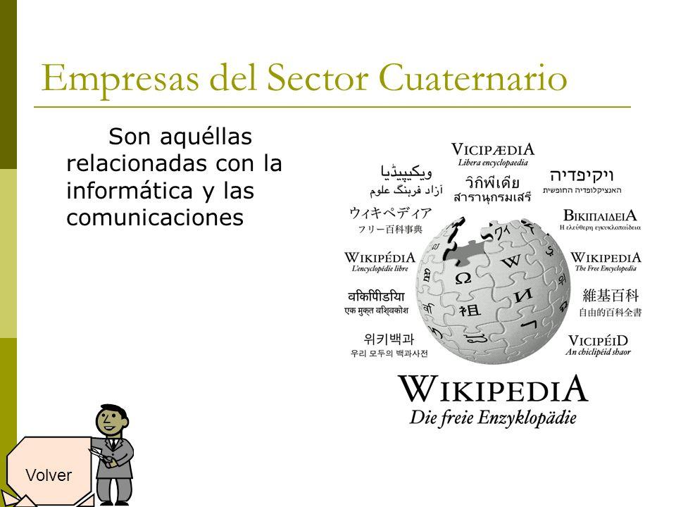 Empresas del Sector Cuaternario Son aquéllas relacionadas con la informática y las comunicaciones Volver