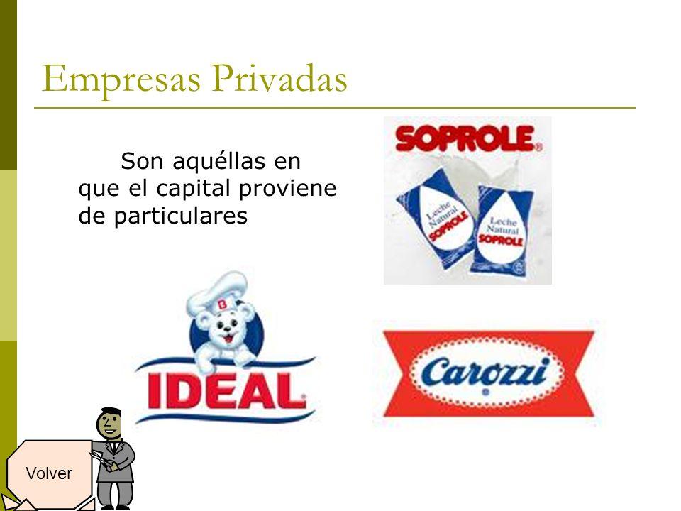 Empresas Privadas Son aquéllas en que el capital proviene de particulares Volver
