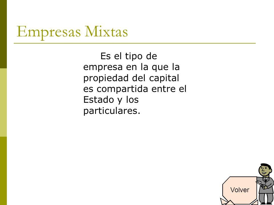 Empresas Mixtas Es el tipo de empresa en la que la propiedad del capital es compartida entre el Estado y los particulares.