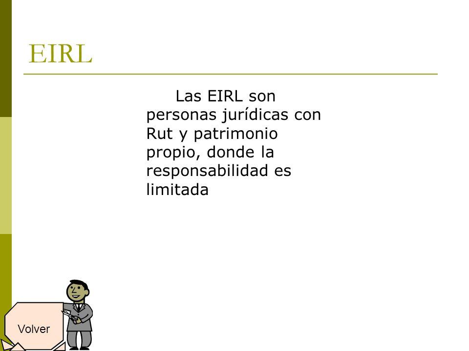 EIRL Las EIRL son personas jurídicas con Rut y patrimonio propio, donde la responsabilidad es limitada Volver