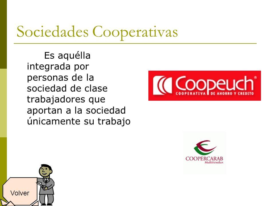Sociedades Cooperativas Es aquélla integrada por personas de la sociedad de clase trabajadores que aportan a la sociedad únicamente su trabajo Volver