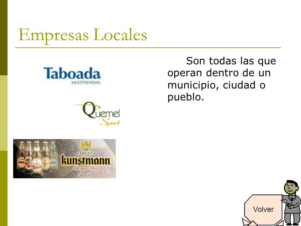 Empresas Locales Son todas las que operan dentro de un municipio, ciudad o pueblo. Volver