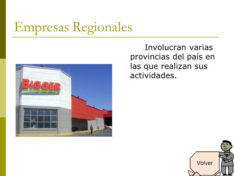 Empresas Regionales Involucran varias provincias del país en las que realizan sus actividades.