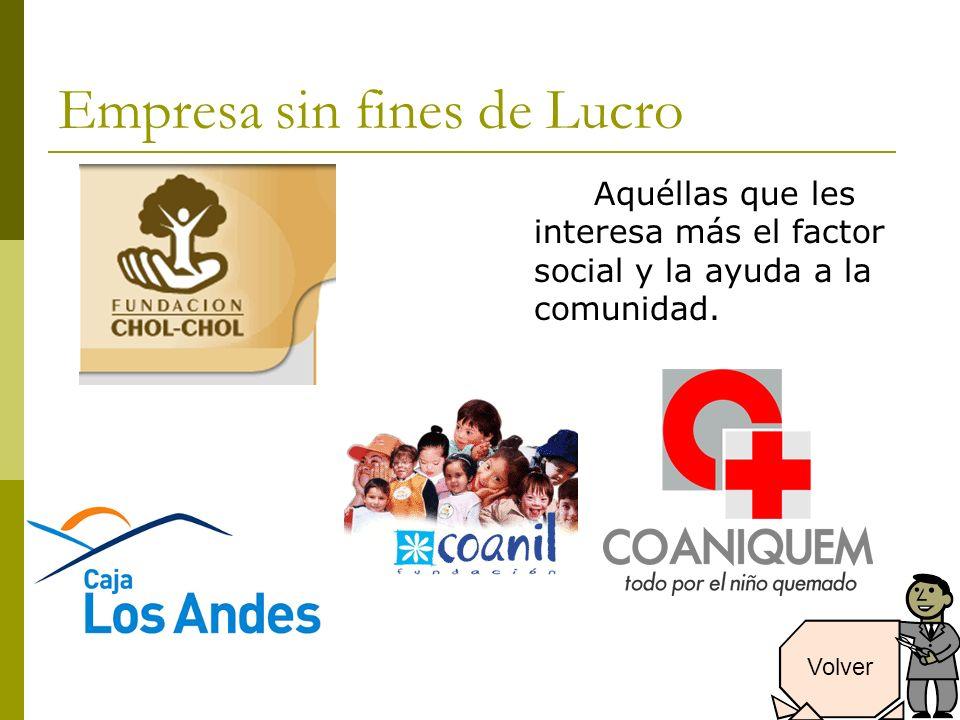 Empresa sin fines de Lucro Aquéllas que les interesa más el factor social y la ayuda a la comunidad.