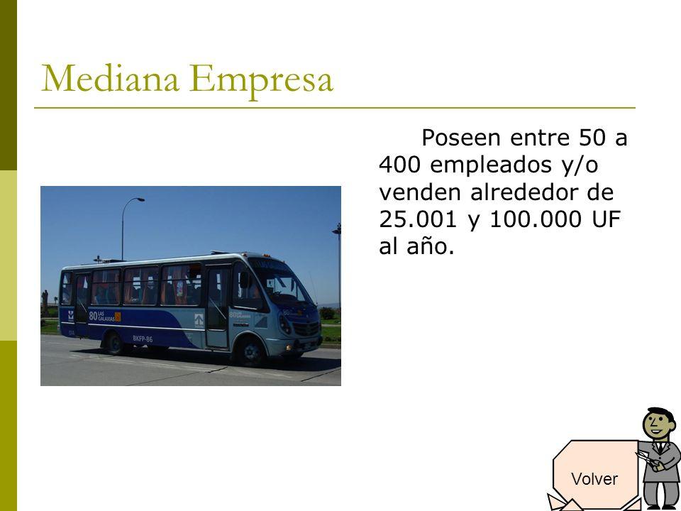 Mediana Empresa Poseen entre 50 a 400 empleados y/o venden alrededor de 25.001 y 100.000 UF al año.